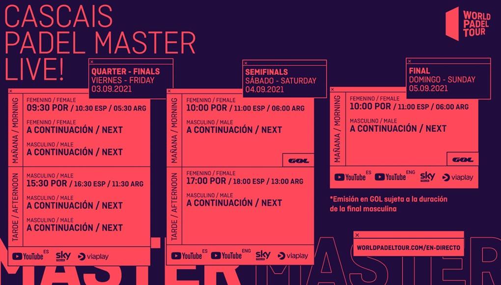Horarios del streaming del Cascais Padel Master