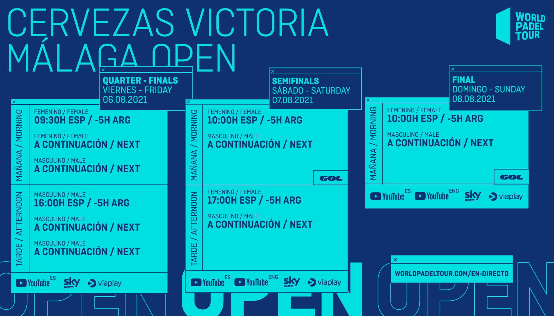 Horarios del streaming del Cervezas Victoria Málaga Open 2021