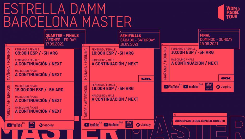 Horarios del streaming del Estrella Damm Barcelona Master 2021