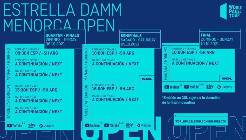 Horarios del streaming del Menorca Open 2021